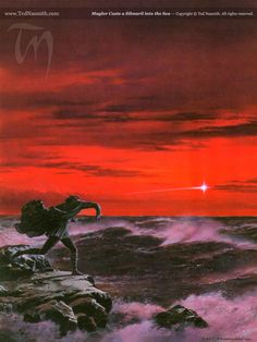 Maglor Casts a Silmaril into the Sea by Ted Nasmith from The Silmarillion - I remember this was the cover of my big sister's Silmarillion book.