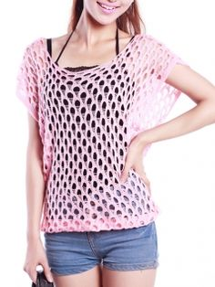 Hollow Short Sleeve O-Neck Loose Solid Color Women Summer Casual T-Shirts