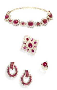 A ruby and diamond choker/bracelet, brooch/pendant, earring and ring suite, by Van Cleef & Arpels, circa 1970.  The choker/bracelet set with cabochon ruby and brilliant-cut diamond stylised floral clusters on a backchain of brilliant-cut diamond foliate motifs, the quatrefoil brooch/pendant, pendent hoop earrings and ring set with similarly cut rubies and diamonds, signed Van Cleef & Arpels. [This doesn't look so much like a suite as a bunch of ruby VCA jewelry someone put together]