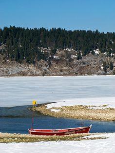The slow death of winter - Lac de Joux, Canton de Vaud, Switzerland by Davers, via Flickr