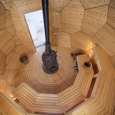 Architects Bigert & Bergstrom recently unveiled Solar Egg, an egg-shaped wood-burning sauna that can seat up to 8 people. The project is part of an urban redevelopment effort lead by developer Riksbyggen in the northernmost city in Sweden called Kiruna. Standing 16 feet (5m) tall, the eye-catchi