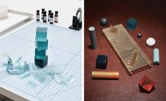 Wallpaper* looked to Brooklyn-based design studio Pelle and custom hardware company ER Butler & Co to give the humble hotel bath soap a makeover for Wallpaper* Handmade. Pictured left: on a cutting mat used for sizing, shavings surround a stack of carved soaps being sampled for levels of blue. Right: 'Rock Garden' prototypes and the topographic brass tray