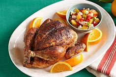 A flavorful orange-jicama salsa makes the perfect accompaniment to this spicy-sweet Healthy Living roasted chicken recipe.