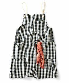 haco!(ハコ)の「やわらか帆布で作った チェックのくたくたエプロン(エプロン)」|ホワイト×ブラック