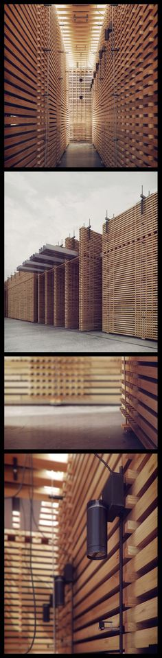 Renderings of the Swiss Pavilion from 2000 by Peter Zumthor, Hanover Germany. The structure no longer exists. Wooden Architecture, Facade Architecture, Contemporary Architecture, Amazing Architecture, Landscape Architecture, Folding Architecture, Peter Zumthor, Hanover Germany, Therme Vals