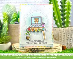 Lawn Fawn Intro: Dandy Day Flip-Flop, I Love You(calyptus) Flip-Flop, Just Stitching Scalloped Circles - Lawn Fawn Lawn Fawn Blog, Honey Bee Stamps, Thought Bubbles, Cute Mouse, Little Designs, Happy B Day, Get Well Cards, Friend Birthday, Clear Stamps