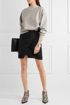 Étoile Isabel Marant - Olga Cotton-twill Wrap Mini Skirt - Black - FR44