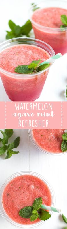 Watermelon Agave Mint Refresher is made with only three ingredients and is the perfect refreshing drink! Cool down with a summer drink. Healthy Smoothies, Healthy Drinks, Smoothie Recipes, Healthy Snacks, Snack Recipes, Dinner Recipes, Dessert Recipes, Infused Water Recipes, Drinks Alcohol Recipes