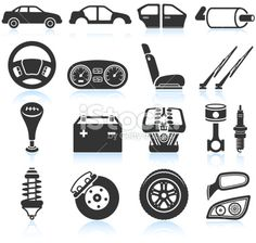 Car Assembly and Parts black & white icon set Royalty Free Stock Vector Art Illustration