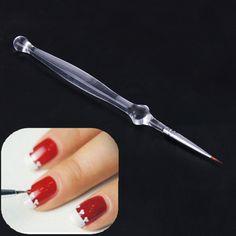 Clear Acrylic Handle Nail Art Brush Painting Liner Drawing Paint Tool Nail Art UV Gel Pen Brush Polish Manicure Tools Brushes #Affiliate