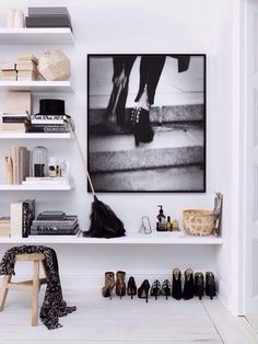 Shoes as Art: 10 Clever Shoe Storage Ideas for Small Spaces, shelves Home Interior, Interior Styling, Interior Architecture, Interior Decorating, Modern Interior, Decorating Ideas, Decoration Inspiration, Interior Inspiration, Design Inspiration
