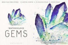 Watercolor crystals / watercolor gem clip art. So pretty!