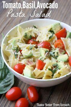 Tomato, Basil, Avocado Pasta Salad - bowtie pasta, fresh avocado, cherry tomatoes, bacon, fresh basil, and parmesan cheese. : tastesbetterfromscratch