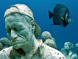 """More than 400 of the permanent sculptures have been installed in recent months in the National Marine Park of Cancún, Isla Mujeres, and Punta Nizuc (map of the region) as part of a major artwork called """"The Silent Evolution."""" The installation is the first endeavor of a new underwater museum called MUSA, or Museo Subacuático de Arte."""