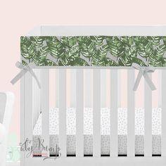 Grey & Green Leaf Baby Crib Rail Cover