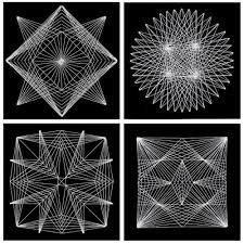 This project shows you how to make intricate Geometric String Art with just card stock, a needle and white string.For dot pattern examples, click <a… Nail String Art, String Crafts, Paper Embroidery, Embroidery Patterns, Arte Linear, String Art Patterns, Spirograph, Math Art, Art Du Fil