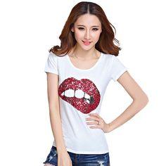 T shirt Women Tops Tees Printed Lips Tshirt Vetement Femme T-shirt Woman Clothes Poleras De Mujer Camisetas Femininas Big Size