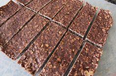 Chocolate Coconut Granola Bars | TheMarathonMom.com...tweaked them to be no sugar, low carb...used almond flour, chia seeds, and hazelnut flavored stevia