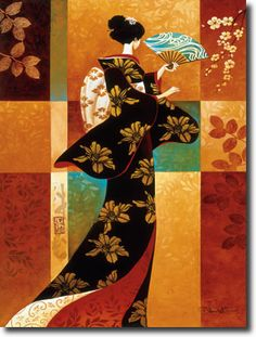 Sakura- Keith Mallett~ A geisha dressed in a bold patterned kimono, fans herself on a warm summer day. This colorful open edition print is pencil signed by the artist. Canadian Art, Sakura Art, Art Prints, Japanese Art, Fine Art Giclee Prints, Painting, Art, Stretched Canvas Prints, Geisha Art