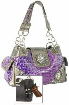 Concealed Carry Rhinestone Medallion Accent Western Handbag