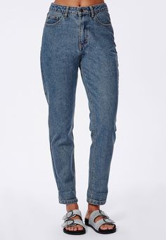 Slim Fit Mom Jeans Stone Wash
