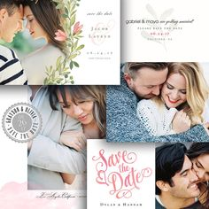 Save The Date Template - 4 Card Bundle - 1400 Save The Date Templates, Save The Date Cards, Wedding Photography, Dating, Photoshop, Engagement, Handmade Gifts, Gabriel, Maya