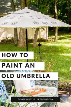 Do you have an old patio umbrella that is looking dated? You can PAINT your umbrella to give it a fresh new look. Learn how to paint an outdoor patio umbrella in this tutorial! It's not hard and will give extra life to your space.