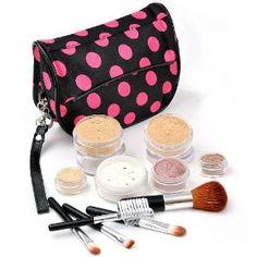 IQ Natural 12pc XL (Dark Medium Shade) Bare Sheer Minerals Makeup Set with Black and Pink Polka Dot Cosmetic Bag! $18.90