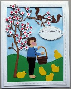 Spring Greetings Materials: Impression Obsession - Tiny Flowers, Girls With Easter Basket (just use her arms) & Boy with Flowers Lawn Fawn - Stitched Rectangle Frame & Stitched Hillside Borders Memory Box - Baby Chicks, Pastry Labels & Small Alder Tree Nuvo Crystal Drops - Carnation Pink Poppy Stamps - Bushel Basket & Frisky Squirrels