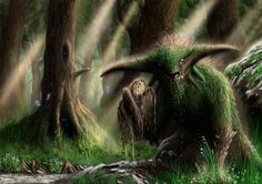 God of the forest. Mythic old spirit or lord of the forest.