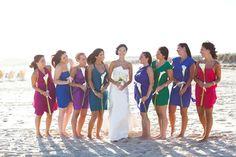 Beach bridesmaids ~ Photography by laurengabrielle.com  (love the different colors)