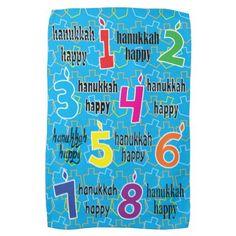 "Kitchen Towel ""Hanukkah Happy 8 Nights"" Dish Towel - decor gifts diy home & living cyo giftidea"