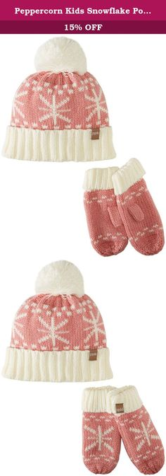 f571b036e516e3 Peppercorn Kids Snowflake Pompom Beanie and Mitten Set XL (6-12y), Rose