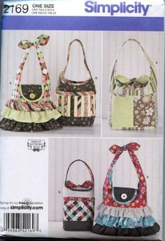 Simplicity Shirley Botsford Designs Pattern 2169 Women's Purses and Bags by Simplicity Creative Group Inc - Patterns - deal funny Bag Patterns To Sew, Simplicity Sewing Patterns, Handbag Patterns, Print Patterns, Best Tote Bags, Fabric Bags, Fabric Purses, Cute Purses, Womens Purses