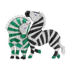 VCA. Diamonds, sapphires, malachite and onyx set in 18K white gold. #VanCleef&Arpels #VCA #Noah'sArk #ArchedeNoé #Brooch #Broche #Animals #Animaux #Zèbres #Zebra #HighJewellery #FineJewelry