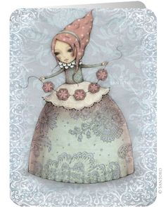 Mirabelle Official Online Shop from Santoro London. Mirabelle collection is a portfolio of beautiful, enchanting art; Belle And Boo, Santoro London, Swing Card, Retro Illustration, Beautiful Drawings, Beauty Art, Whimsical Art, Print Pictures, Face Art