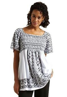 Top, peasant style printed and smocked by Chelsea Studio® | Plus Size Short Sleeve | Woman Within