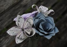 Sheet Music Bouquet. Lavender & Grey. Or CHOOSE YOUR COLORS. Musician Gift, Anniversary, Birthday, Centerpiece, Bridal Bouquet by TreeTownPaper on Etsy