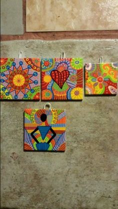 Finished 4 more wall tiles tonight. One is already sold, the others will soon be for sale at my Etsy store.