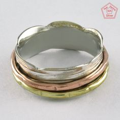 Sz 7 US,THREE TONE CHARMING 925 STERLING SILVER SPINNER RING, R4398 #SilvexImagesIndiaPvtLtd #Spinner #AllOccasions