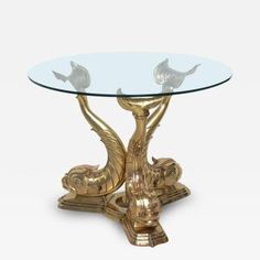 Brass Dolphin Center Table