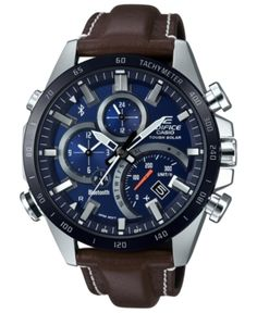 G-Shock Men's Solar Analog-Digital Edifice Brown Leather Strap Watch Men's Watches, Watches Online, Luxury Watches, Cool Watches, Watches For Men, Casio Edifice, Bluetooth Watch, Solar Watch, Brown Leather Strap Watch
