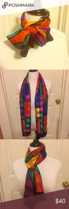 Unique Vintage Long & Colorful Versatile Scarf Gorgeous & Unique RARE Vintage Long & Colorful Versatile Scarf. Can be worn on head, on neck, tied a million different ways, or even as a table runner or decoration. In excellent condition. Tag says the Limited, so I assume it's made by them. Made in Italy! You won't find this for sale anywhere else. Comment if you need measurements. Bundle and Save $ Vintage Accessories Scarves & Wraps