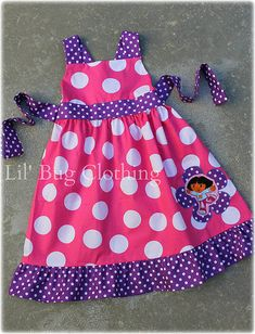 Custom Boutique Clothing Dora The Explorer Pink and Purple  BIrthday Dots Jumper Dress