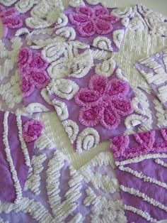 lavender and white Chenille squares