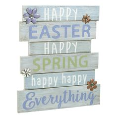 Happy Easter. Happy Spring. Happy Everything - Plankboard Decorative Spring and Easter Wall Art with Metal and Faux Jewel Floral Embellishments - 11-1/4-in