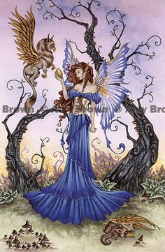 Gryphon and fairy  PRINT by Amy Brown by AmyBrownArt on Etsy, $14.00