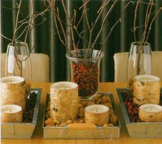 Fall Centerpiece Help! :  wedding brown centerpiece fall gold leaves orange red yellow Cranberries 02