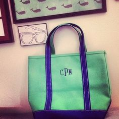 Monogram Tote from LL Bean - get one with your new married initials for your honeymoon!