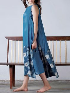 Buy Indigo Tie-Up Detailed Natural Dyed Block Printed Cotton Dress with Lining Set of 2 Online at Jaypore.com